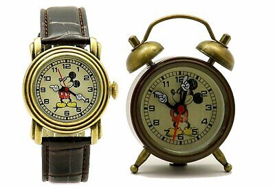 Disney Mickey Mouse MCK007B Brown Leather Analog Watch & Twin Bell GIFT
