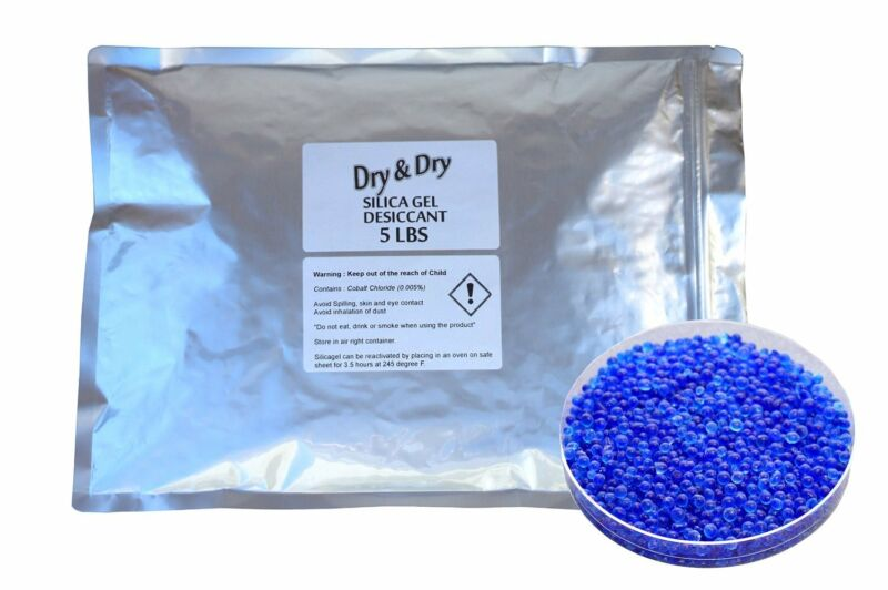 """5.5 LBS """"Dry & Dry"""" High Quality Blue Indicating Silica Gel Desiccant Beads"""