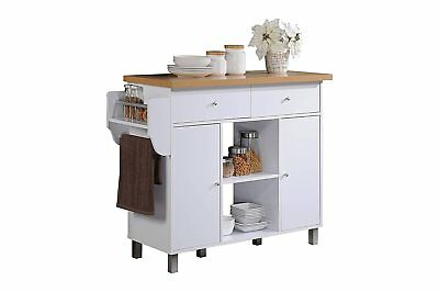 Hodedah Import HIK69 Kitchen Island with Spice Rack & Towel Rack In White Finish