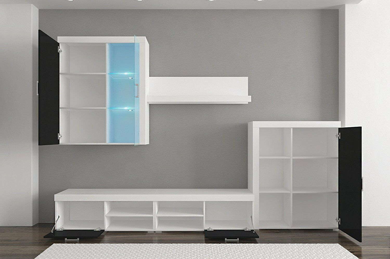 Mueble comedor salon moderno vitrina con leds blanco brillo y blanco mate ebay - Mueble comedor blanco ...