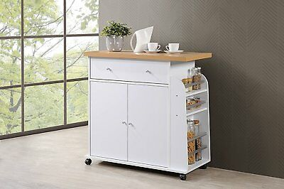 Hodedah Import Kitchen Island with Spice Rack and Towel Rack in White HIK65WHITE