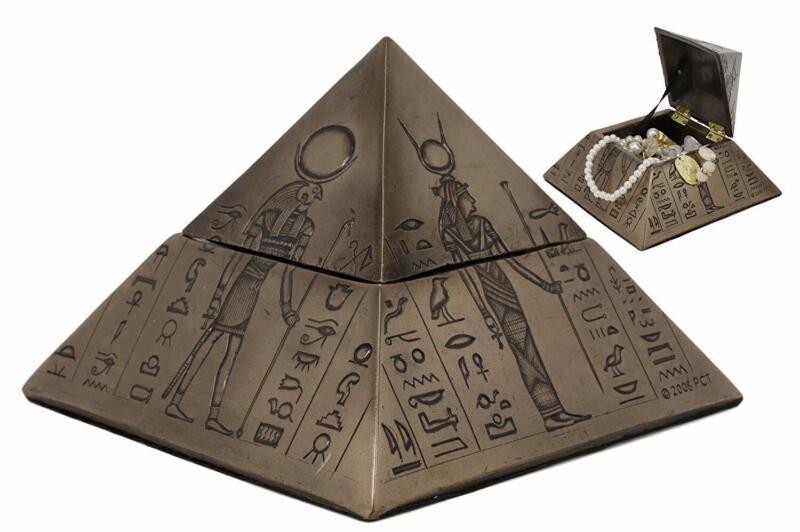"Ebros Egyptian Isis Sekhmet Horus Anubis Pyramid Decorative Box 6""L"