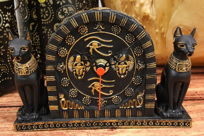 """Ebros Ancient Egyptian Bastet Table Clock Statue 6.75"""" Long with Roman Numerals"""
