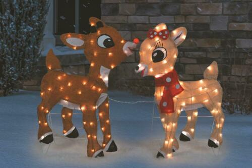 """32"""". Rudolph and Clarice 2-D Tinsel Light Display Christmas Outdoor Decoration"""