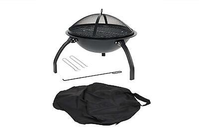 La Hacienda 58106 Camping Firebowl With Grill, Folding Legs And Carry Bag -