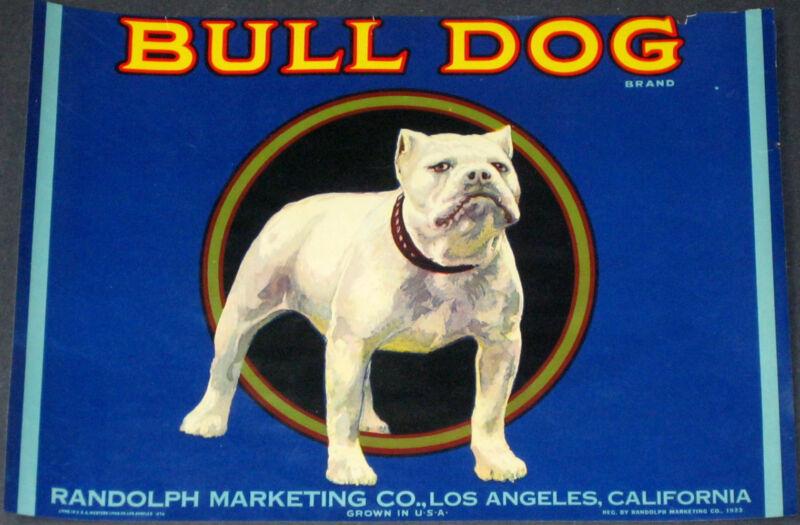 BULL DOG~RARE ORIGINAL 1920s LOS ANGELES CALIFORNIA LEMON OLD FRUIT CRATE LABEL
