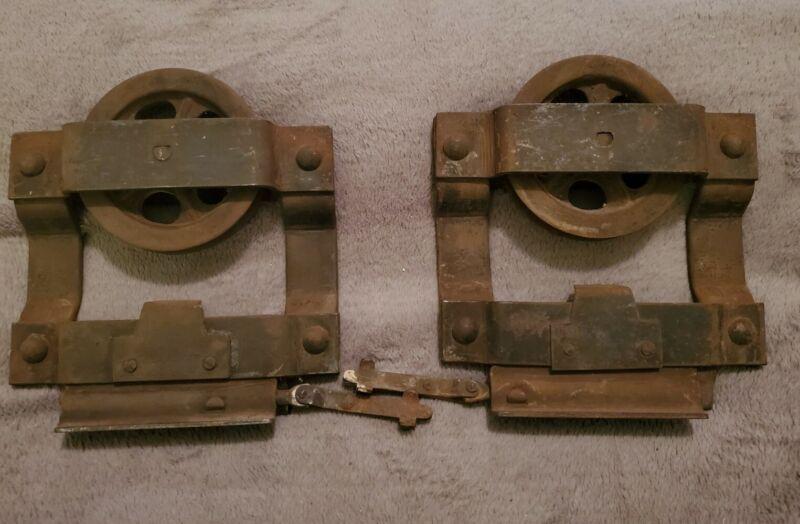 ANTIQUE SET OF 2 POCKET DOOR ROLLERS Architectural Hardware TOP ROLLERS   (Grp1)
