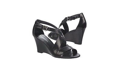 Naturalizer Hitch High Heel Strappy Wedge Sandal Black Leather Size 9.5B Nib!