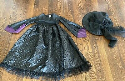 Pottery Barn Kids Deluxe Witch Halloween Costume 7-8 Tulle Dress Hat