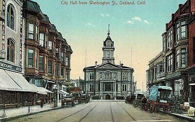 Berkeley California City Hall Washington Street Horse Drawn Wagons C 1909