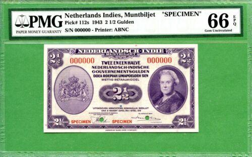 INDONESIA   P112S   PMG 66 EPQ  1943  2 1/2  SPECIMEN 000000 NOTE