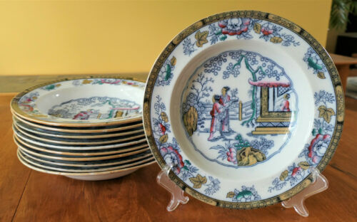 "11 Antique Ironstone Polychrome Soup Plates Staffordshire ""Chinese"" Hope Carter"