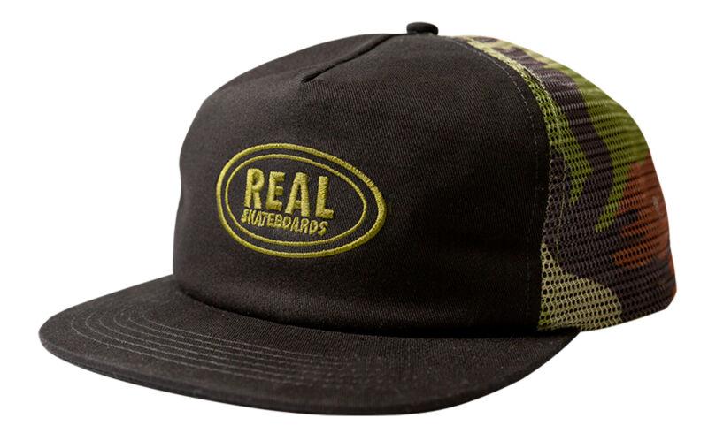Real Skateboard Hat Oval Snapback Trucker Black/Camo