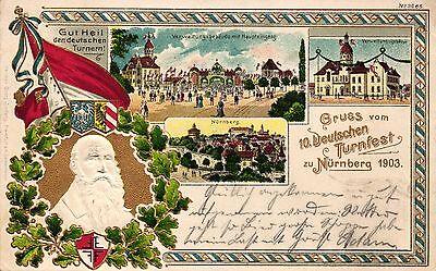 Nürnberg, 10. Deutsches Turnfest, Farb-Litho, Prägekarte, 1903 nach Höchst