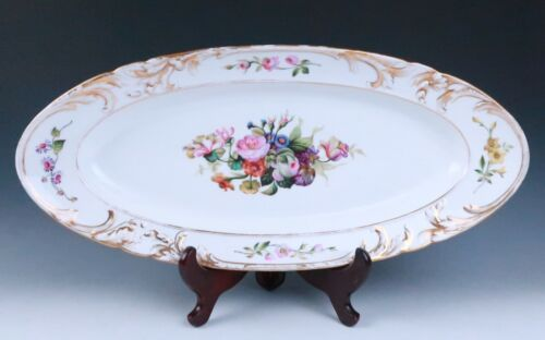 "Antique Hand Painted Paris Porcelain 26"" Lrg Serving Platter Floral Bouquet Old"