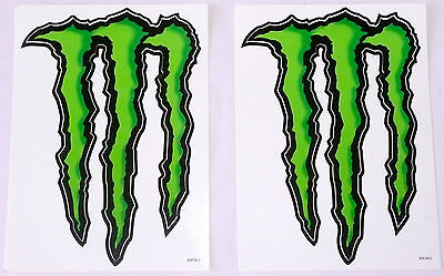 "SET OF 2 MONSTER ENERGY DRINK LOGO STICKERS Black/Green 5.5"" x 8.5"" >NEW<"