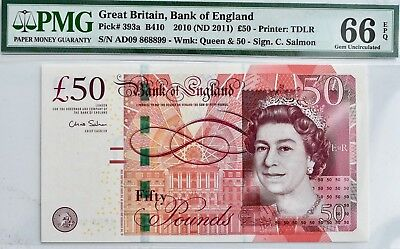 2010 (2011) England £50 Pound Note PMG 66 EPQ Fifty Bill 393a B410 UK Britain for sale  Shipping to Ireland