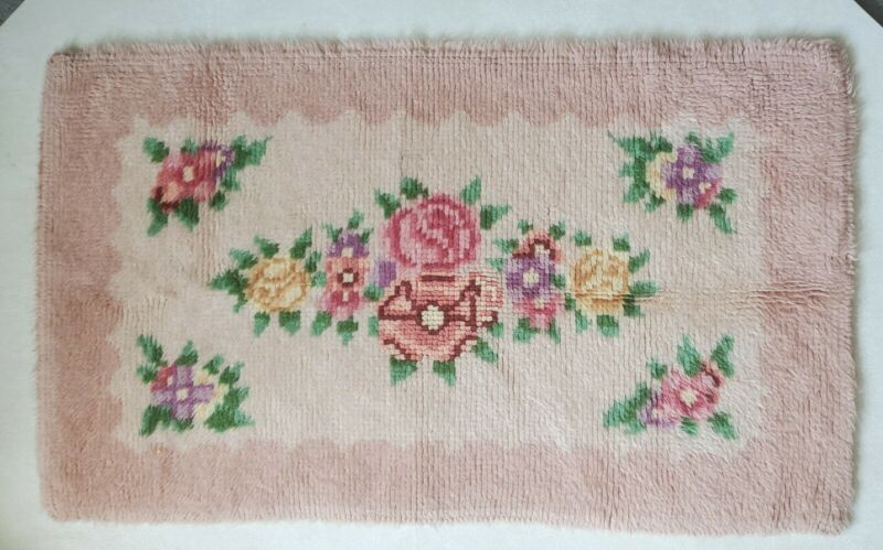 Vintage Roses Floral Flowers Finished Pink Purple Yellow Green Latch Hook Rug