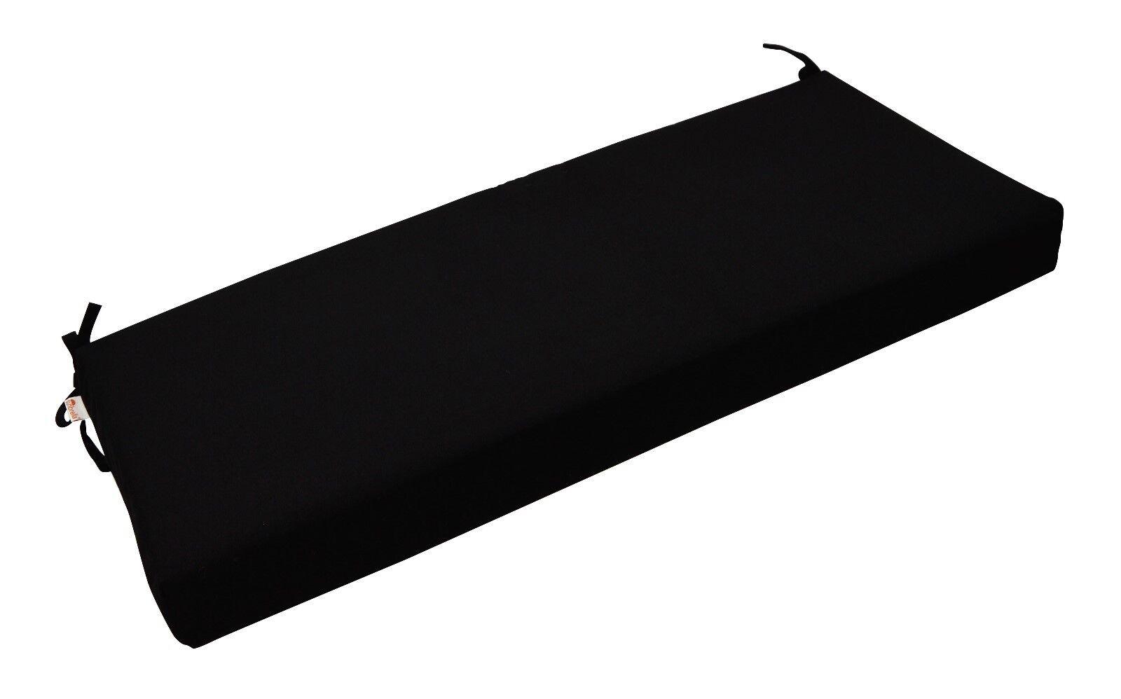 "Outdoor Bench Cushion Sunbrella Canvas Black Fabric - 2"" Thi"