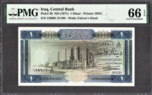Iraq One Dinar ND (1971) Pick-58 GEM UNC PMG 66 EPQ