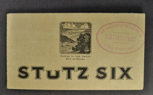 1923 Stutz Six 6 Brochure Folder Touring Car Roadster Sedan Nice Original 23