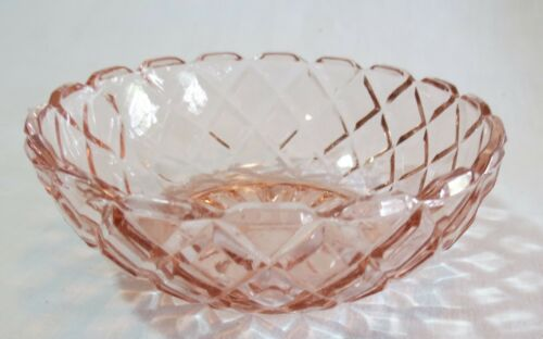 "Anchor Hocking Waterford Waffle Pink 4 ¾"" Individual Berry Bowl(s)"