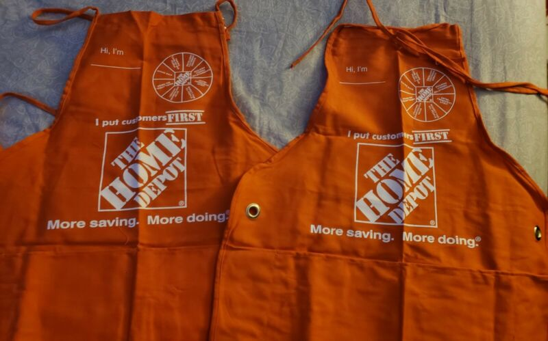 Two Home Depot Employee Apron with patches and security key