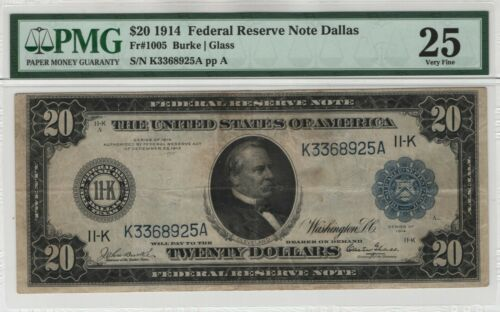 1914 $20 Federal Reserve Note Currency Dallas GLASS FR.1005 PMG Very Fine 25