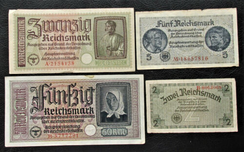 Lot of 50,5,20,2 WW2 REICHSMARK NAZI GERMANY CURRENCY GERMAN BANKNOTES