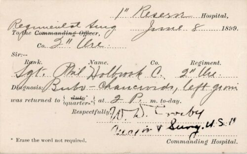 1899 Spanish American War Hospital Diagnosis Pvt. Phil Holbrook Medical Release