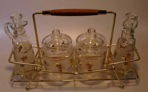 Libbey Golden Foliage Vintage Glass Condiment Set