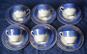 Royal Stafford Bone China Tea Set...FOR 5  BLUE WITH GILT