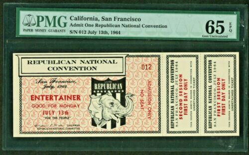 PMG 65 1964 REPUBLICAN NATIONAL CONVENTION ENTERTAINER ADMISSION TICKET JULY 13