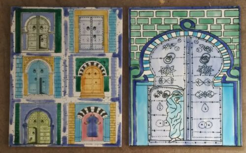 Beautiful Hand Painted Pair of Ceramic Tiles by Socor made in Tunisian
