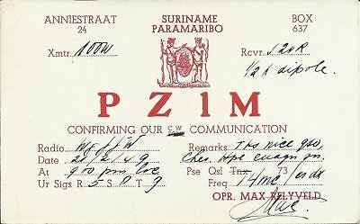 OLD VINTAGE PZ1M PARAMARIBO SURINAME AMATEUR RADIO QSL CARD
