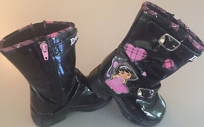 Dora the Explorer Girl's Black Boots Little Kids Size 7 Dora Black Child Boots