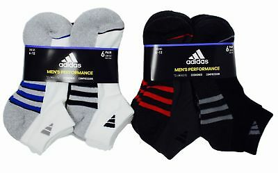 (SALE! Adidas Men's Low Cut Performance Climalite 6 Pair Cushioned Socks- VARIETY)