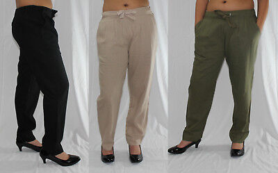 Solid Pleated Linen Pants Relaxed Fit Sizes S to XXXL