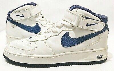 2001  NIKE AIR FORCE 1 WHITE Denim Swoosh  Shoes Size  10