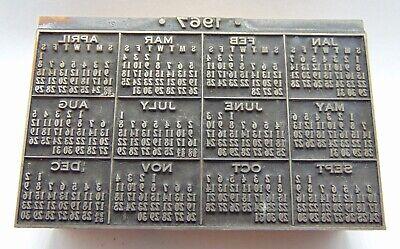 Printing Letterpress Printers Block 1967 Calendar