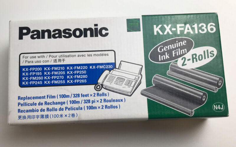 Panasonic KX-FA136 Genuine Fax Ink Film 2 Roll Pack Replacement New Sealed
