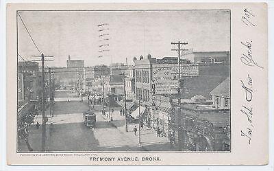 RARE 1906 Tremont Avenue Bronx New York City NYC + trolley Post Card PC
