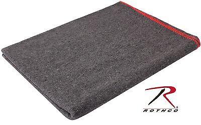 "Gray Wool Rescue Survival Blanket - Rothco 90"" Fire Retardant Emergency Blankets"