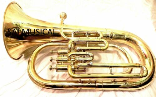 SMART DEAL Brass Finish BB Flat Euphonium Free Case+ Mouthpiece