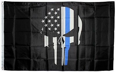 Police Flag Thin Blue Line Flags Punisher Banner Memorial USA Skull free ship
