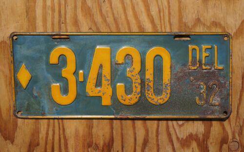 1932 DELAWARE Passenger License Plate # 3430