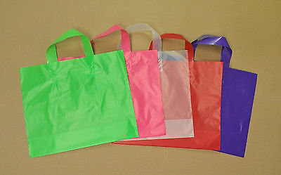 12x10x4 Frosted Plastic Loop-handle Shopping Party Gift Tote Bag Assorted Colors](Colored Gift Bags)