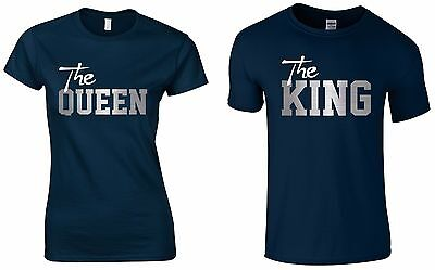 THE KING & QUEEN Ladies & Mens T-Shirts Funny Printed Couple Matching Tops