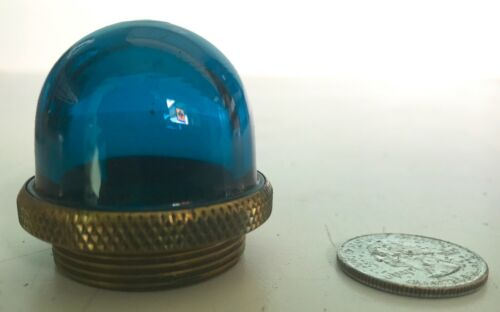 BLUE GREEN Glass  and Brass Control Switch Indicator Lens Jewel
