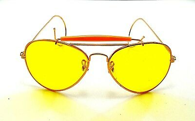 dd3a0b0181 vintage aviator gold metal yellow lens sunglasses nos aviators shooting  glasses